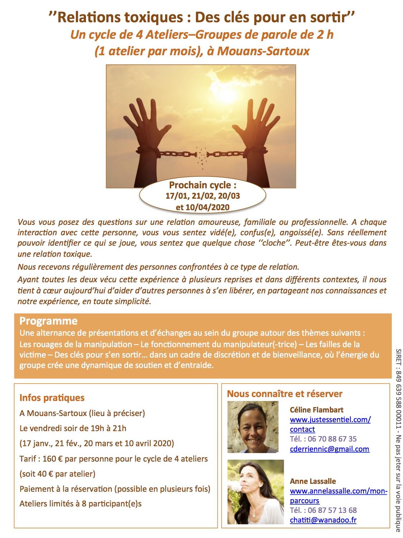 Relations toxiques : des clés pour s'en sortir - Cycle d'ateliers-groupes de parole